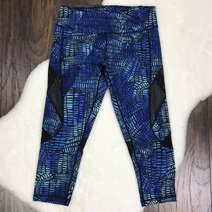Zella Medium Cropped Athletic Leggings Mesh Panels
